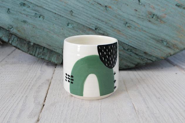 Green Abstract Ceramic Beaker - Handmade Irish Gifts - Irish Pottery - Homewares - New Home Gifts