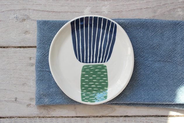 Navy/Green Block Side Plate - Handmade Irish Gifts - Irish Pottery - Tableware