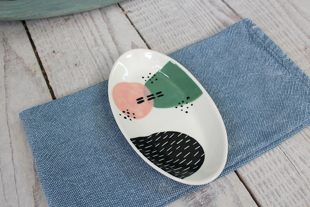 Blush/Green Sparkle Ceramic Nibbles Bowl - Handmade Irish Gifts - Irish Pottery - Tableware