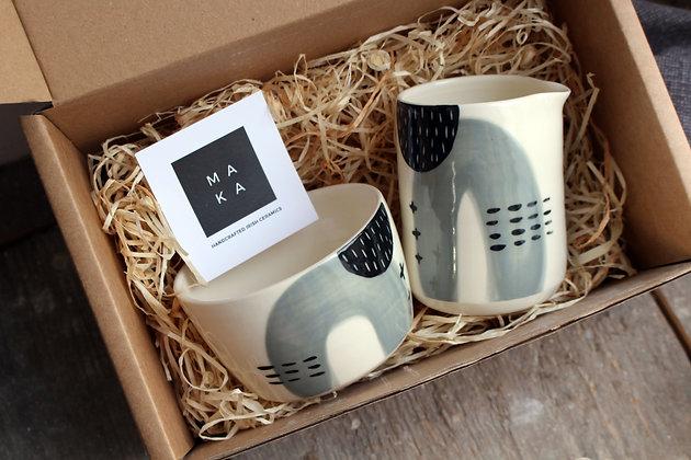 Grey Abstract Ceramic Creamer & Sugar Bowl Set - Handmade Irish Gifts - Irish Pottery - Tableware