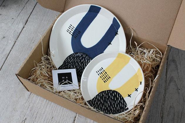 Ceramic Navy/Yellow Serving Dish Gift Set - Handmade Irish Gifts - Irish Pottery - Tableware - Christmas Gifts