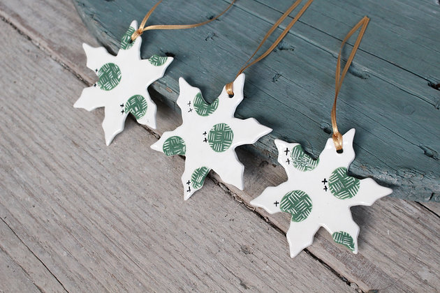 Green Dot Snowflake gift set | Ceramic Decoration | Handmade Irish Gifts | Christmas Gifts