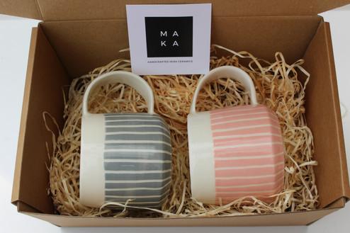 MAKA Ceramics, Grey/Pink Coffee Cups - Irish Pottery