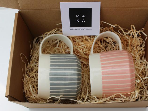Stripe Coffee Cups Set