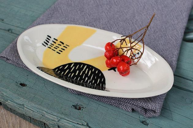 Yellow Abstract Ceramic Olive Bowl - Handmade Irish Gifts - Irish Pottery - Tableware