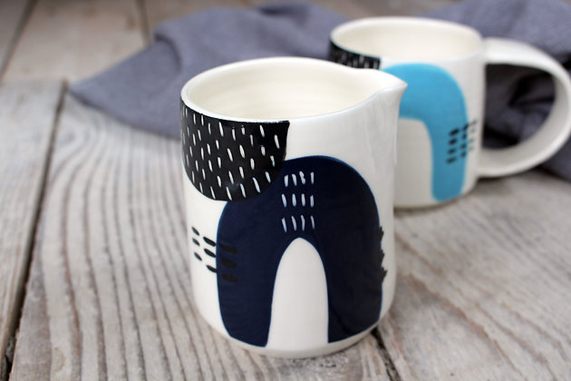 Navy Abstract Creamer Jug - Handmade Irish Pottery – Gifts