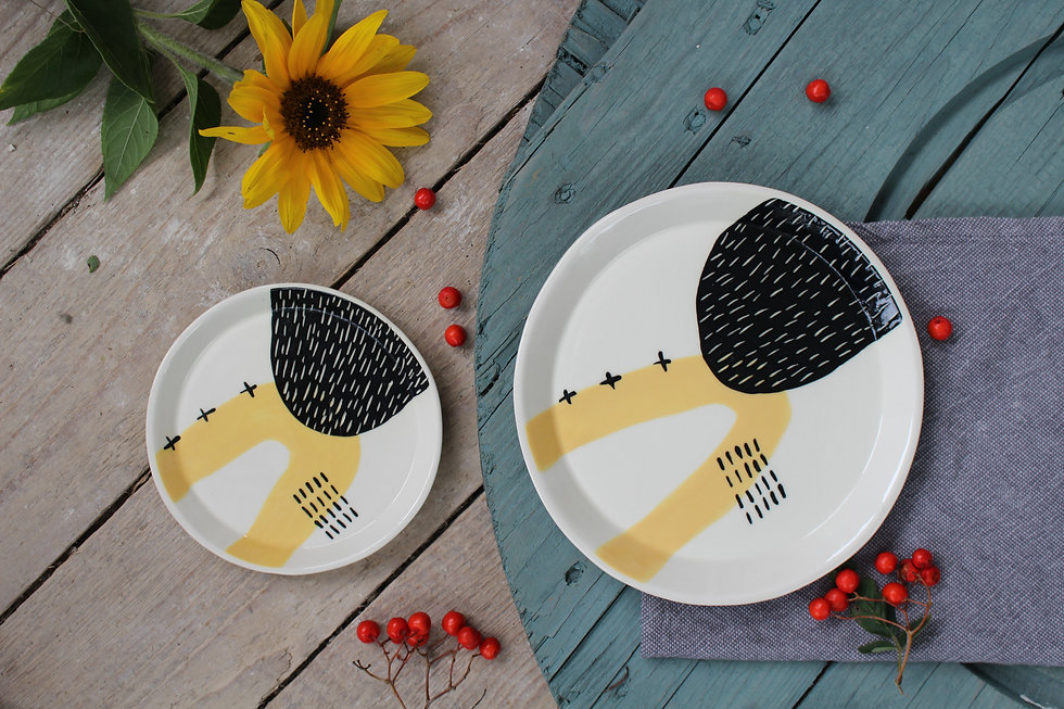 Yellow Abstract Dinner Plate