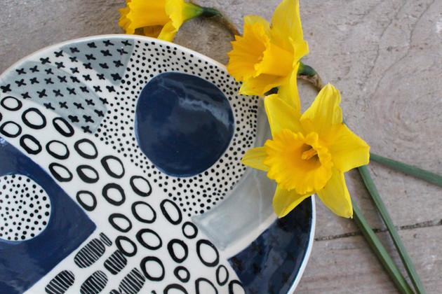 MAKA Ceramics Navy/Grey/Black Abstract Dish - Irish Pottery