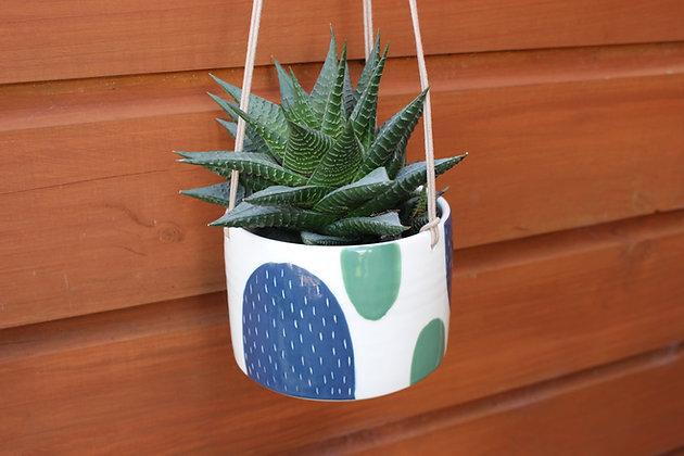 Navy/Green Hanging Planter - Plant Pot - Handmade Irish Gifts - Irish Pottery - Homewares - Irish Made Occasional Gifts