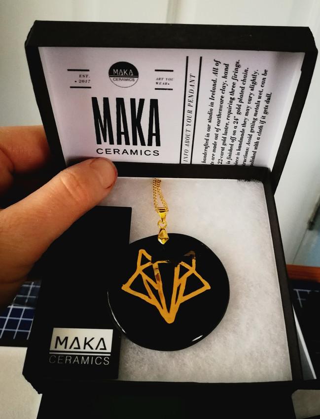Craft shops Dublin: MAKA Ceramics handcrafted jewellery, ceramic pendants, Irish craft, Geometric Fox necklace, GEO Fox pendant