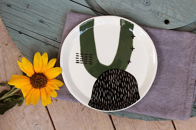 Green Abstract Ceramic Dinner Plate - Flatware – Home-wares  - Irish Pottery