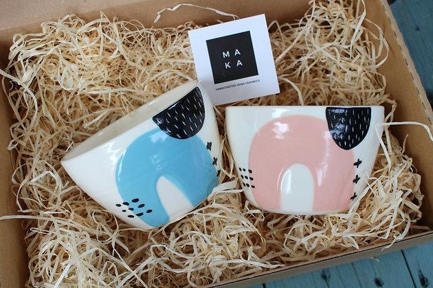 Blue/Blush Ceramic Breakfast Gift Set - Handmade Irish Gifts - Irish Pottery - Tableware - Irish Made Occasional Gifts