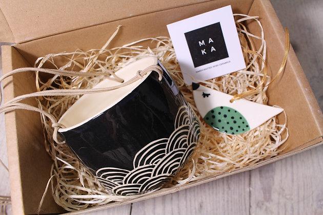 Hills Ceramic Hanging Planter & Bird Gift Set - Handmade Irish Gifts - Irish Pottery - Homewares - Irish Made Christmas Gifts