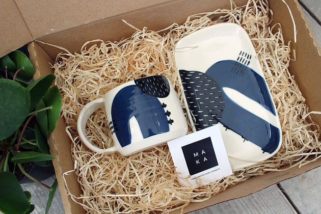 Navy Ceramic Platter & Coffee Cup Set - Handmade Irish Pottery – Gifts - Homewares -  Fathers Day Gifts