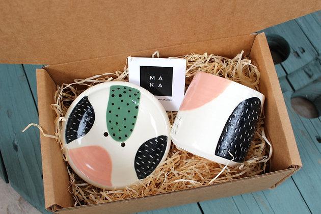 Blush/Green Ceramic Bathroom Gift Set - Handmade Irish Gifts - Irish Pottery - Homewares - Irish Made Occasional Gifts