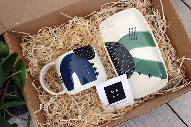 Green Ceramic Platter Navy Coffee Cup Set - Handmade Irish Pottery – Gifts - Homewares -  Fathers Day Gifts
