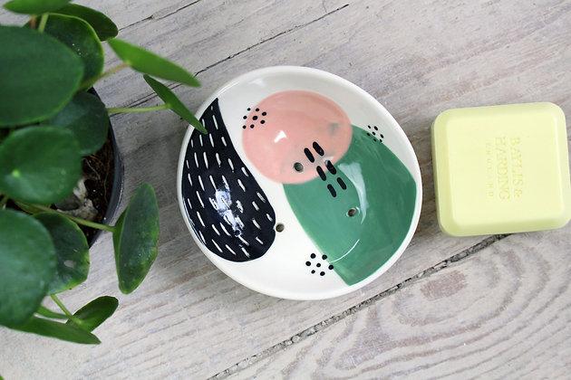 Blush/Green Abstract Curved Ceramic Soap Dish - Handmade Irish Gifts - Irish Pottery - Homewares - New Home