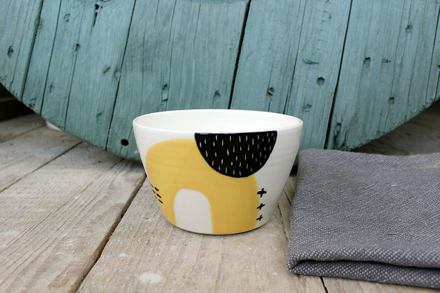 Yellow Abstract Ceramic Breakfast Bowl - Handmade Irish Gifts - Irish Pottery - Tableware