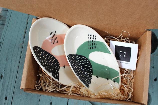Blush/Green Ceramic Nibbles Dishes Gift Set - Handmade Irish Gifts - Irish Pottery - Tableware - Irish Made Occasional Gifts