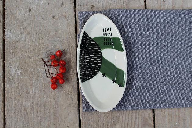 Green Abstract Ceramic Olive Bowl - Handmade Irish Gifts - Irish Pottery - Tableware