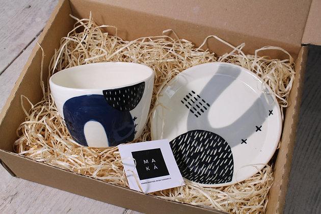 Navy/Grey Ceramic Breakfast Gift Set - Handmade Irish Gifts - Irish Pottery - Tableware - Irish Made Christmas Gifts