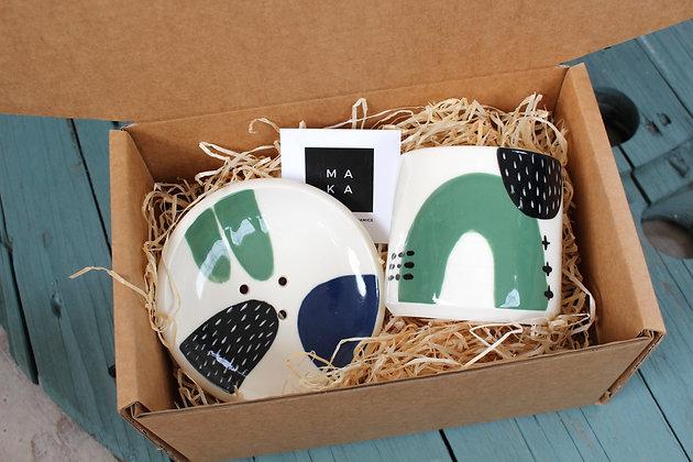 Green/Navy Ceramic Bathroom Gift Set - Handmade Irish Gifts - Irish Pottery - Homewares - Irish Made Occasional Gifts