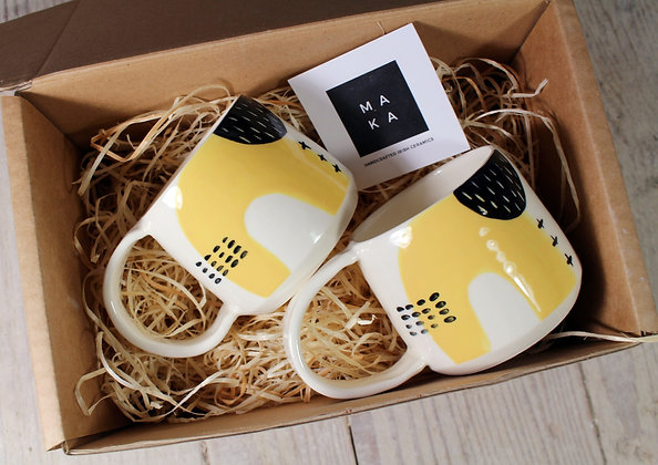 Yellow Abstract Coffee Cups Set