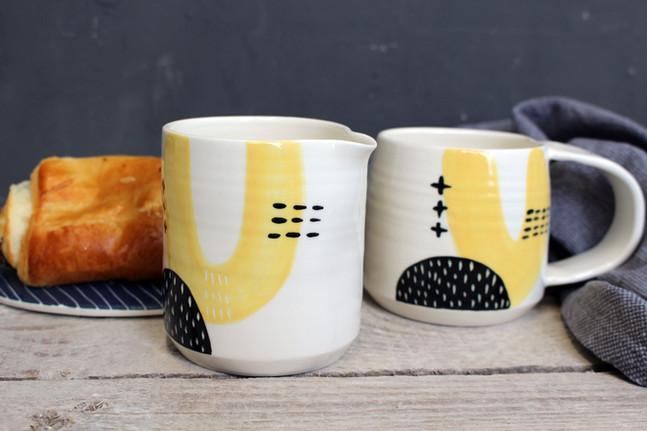 MAKA Ceramics Tableware, Yellow/Black Jug, Coffee Cup -  Irish Pottery