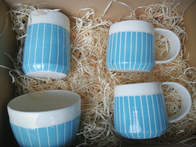 Blue Stripe wedding gift set