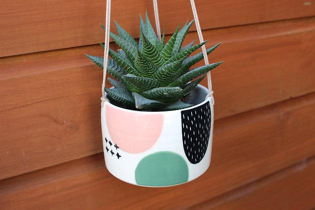 Blush/Green/Black Hanging Planter -Plant Pot - Handmade Irish Gifts - Irish Pottery - Homewares - Irish Made Occasional Gifts