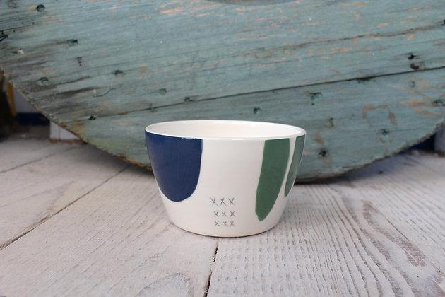 Navy/Green Ceramic Breakfast Bowl - Handmade Irish Gifts - Irish Pottery - Tableware