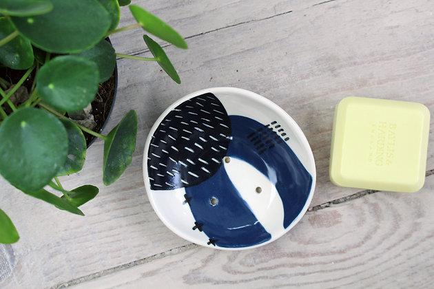 Navy Abstract Curved Ceramic Soap Dish - Handmade Irish Gifts - Irish Pottery - Homewares - New Home