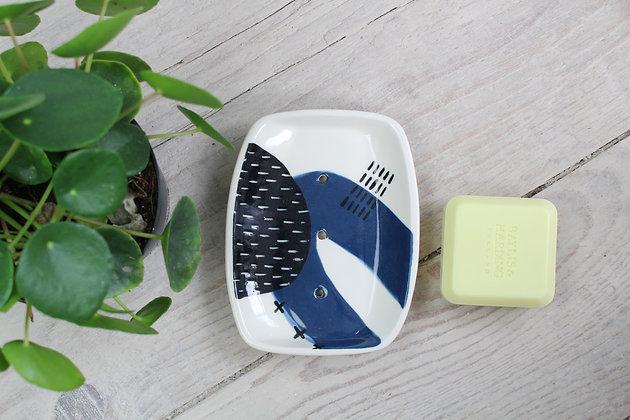 Navy Abstract Rectangular Ceramic Soap Dish - Handmade Irish Gifts - Irish Pottery - Homewares - New Home