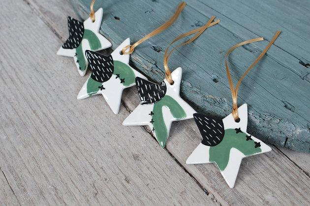 Green Mini Star gift set | Ceramic Decoration | Handmade Irish Gifts | Christmas Gifts