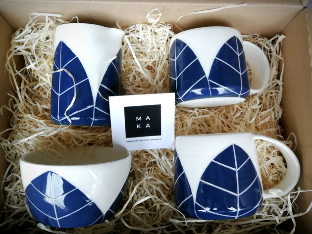 Navy Leaf wedding gift set
