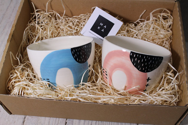 Blue/Blush Ceramic Breakfast Gift Set - Handmade Irish Gifts - Irish Pottery - Tableware - Irish Made Christmas Gifts
