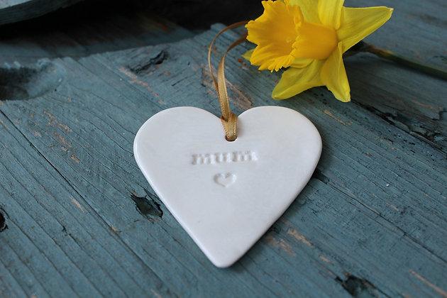 Mum Love Heart Ceramic Decoration Keepsake - Handmade Irish Gifts - Mothers Day - Gifts