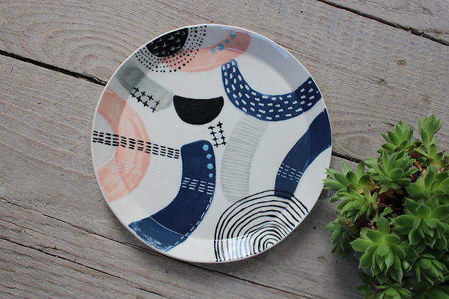 Pink/Navy/Grey/Black Abstract Dinner Plate