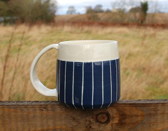 Navy Stripe Coffee Cup & Pour Set | Ceramic Tableware | Handmade Irish Gifts