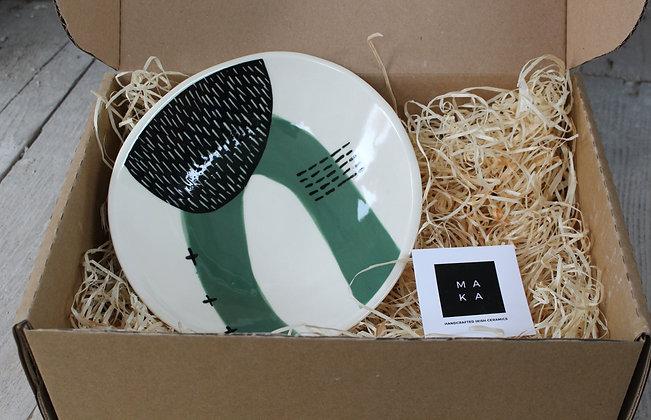 Green Abstract Dish Gift Box- Handmade Irish Gifts - Irish Pottery - Tableware - Christmas Gifts