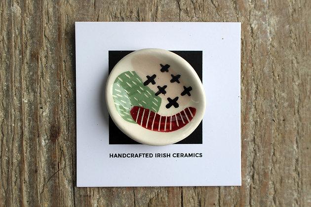 Curved Ceramic Abstract Brooch - Handmade Irish Gifts