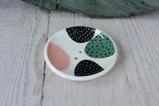 Blush/Green Polka Dot Abstract Ceramic Soap Dish - Handmade Irish Gifts - Irish Pottery - Homewares - New Home Gifts