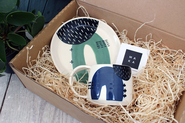 Green Ceramic Plate Navy Coffee Cup Set - Handmade Irish Pottery – Gifts - Homewares -  Fathers Day Gifts