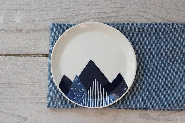 Navy Peaks Side Plate - Handmade Irish Gifts - Irish Pottery - Tableware