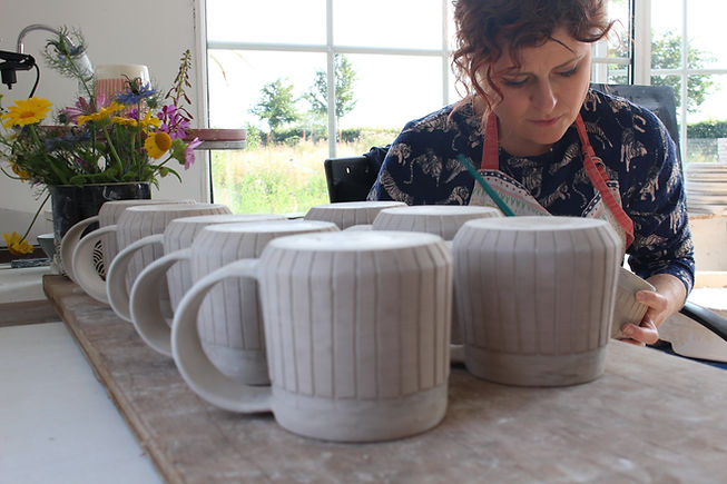 MAKA Ceramics - Irish Pottery - Production - Decorating - Tableware/Coffee Cups