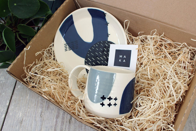 Navy Ceramic Plate Navy/Grey Coffee Cup Set - Handmade Irish Pottery – Gifts - Homewares -  Fathers Day Gifts