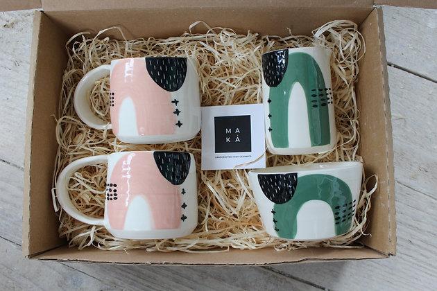 Blush/Green Ceramic Coffee Cup, Pourer & Sugar Bowl Gift Set - Handmade Irish Gifts - Irish Pottery - Tableware - Christmas