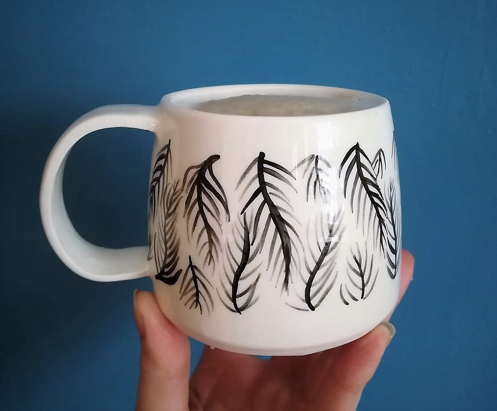 Irish pottery - ceramic tropical coffee mugs