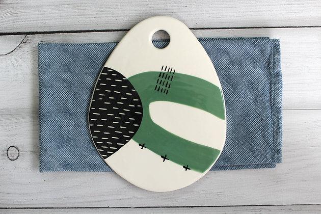 Green Oval Ceramic Platter - Handmade Irish Gifts - Irish Pottery - Tableware