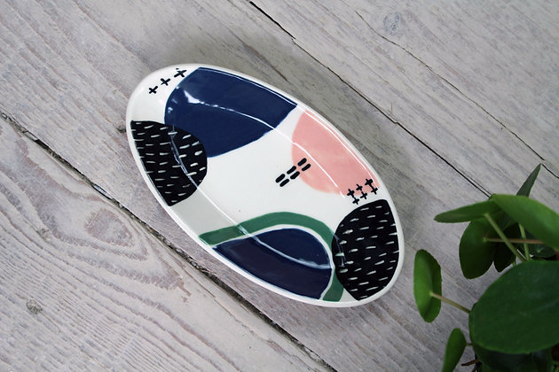 Navy/Blush/Green Abstract Ceramic Olive Bowl - Handmade Irish Gifts - Irish Pottery - Tableware